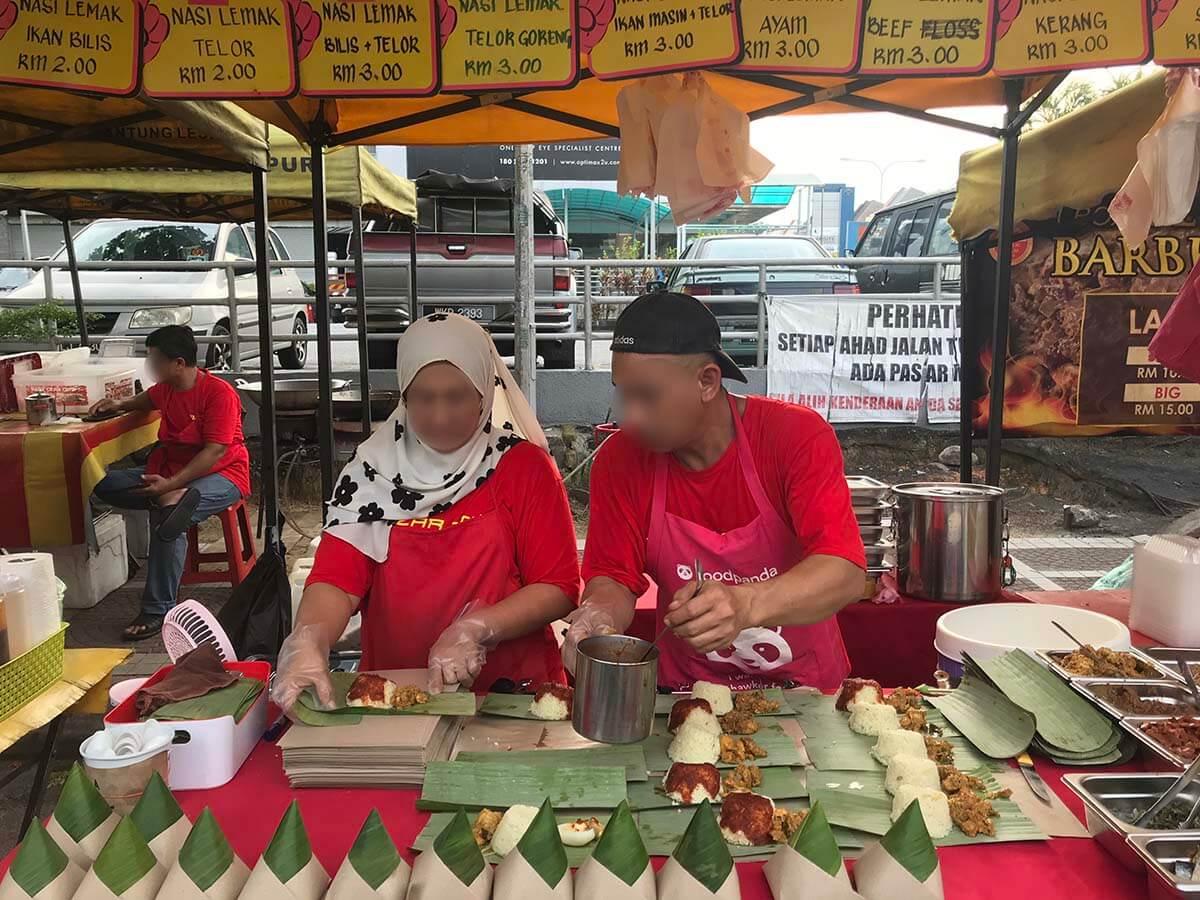 マレーシアのマーケットのナシレマ