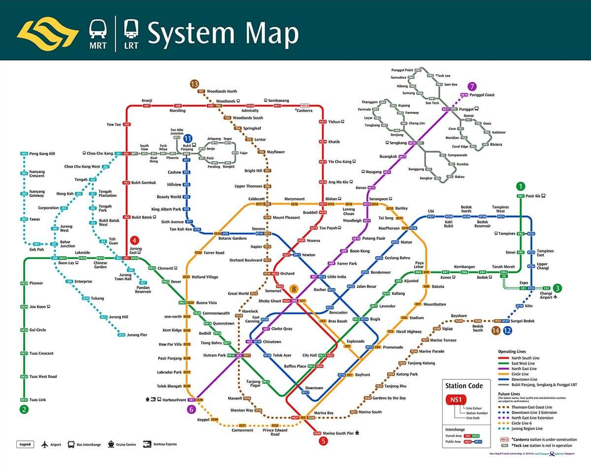 シンガポールの路線図
